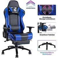 KILLABEE Gaming Stuhl - Verstellbares Massage Lendenkissen, einziehbare Fußstütze, verstellbare Armlehne und hohe Rückenlehne aus Leder im Rennstil für Computer Schreibtisch oder als Leder Bürostuhl