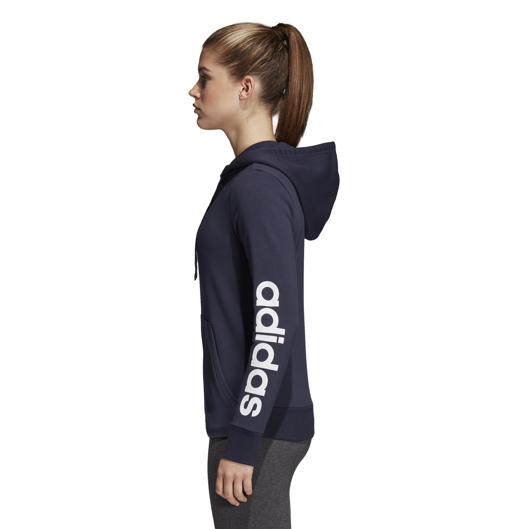 adidas Women's Essentials Linear Full Zip Hoodie Legend Ink/White X-Small by adidas (Image #3)