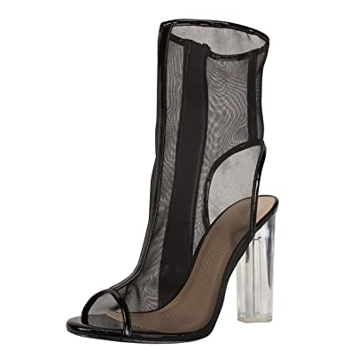 e58ab50ac5 Amazon.com | Wild Diva Womens Open Peep Toe Sheer Mesh Clear Transparent  Chunky High Heel Booties Boot | Pumps