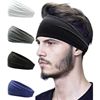 Mens Headband Sweat Elastic Headbands Charm Wide Sport Headband for Women Tennis Yoga Gym