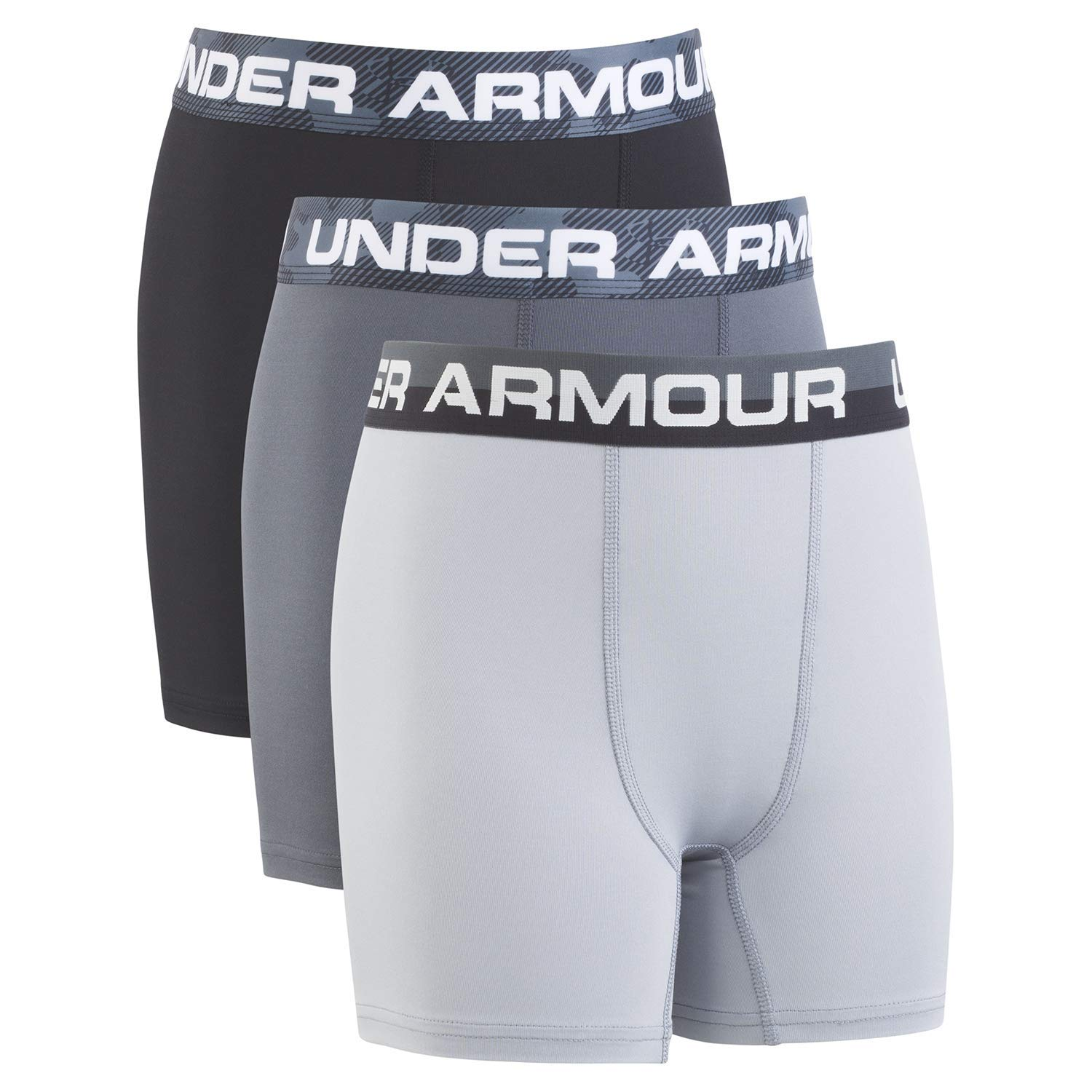 Under Armour Boys' Big 2 Pack Performance Boxer Briefs, Pitch Gray YLG