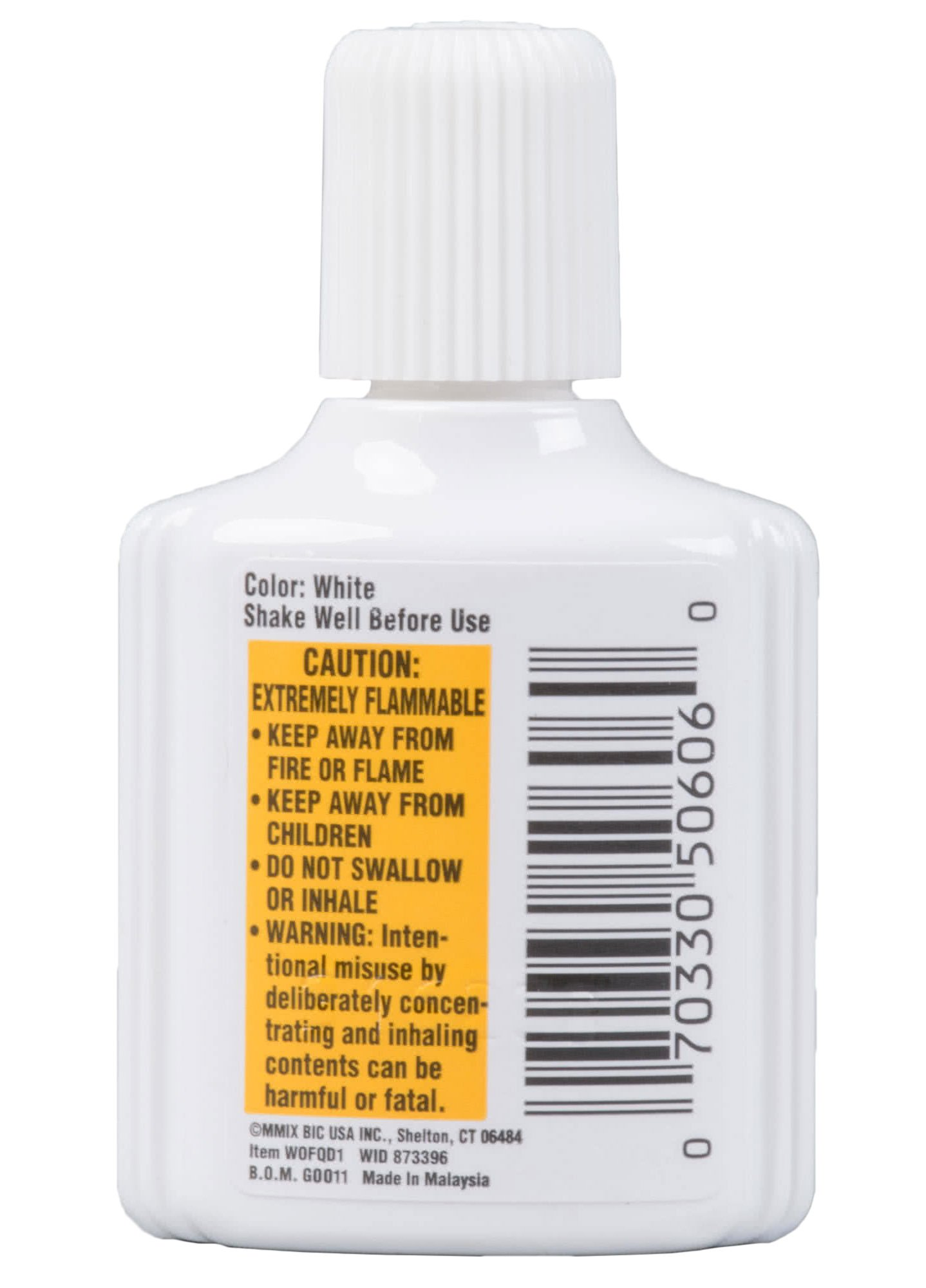 Set of 12 Wite-Out Quick Dry Correction Fluid -.7fl.oz./20ml per Bottle - Foam Wand Applicator - White - Works on Red and Dark Ink and Permanent Marker! by BicWite-Out (Image #3)