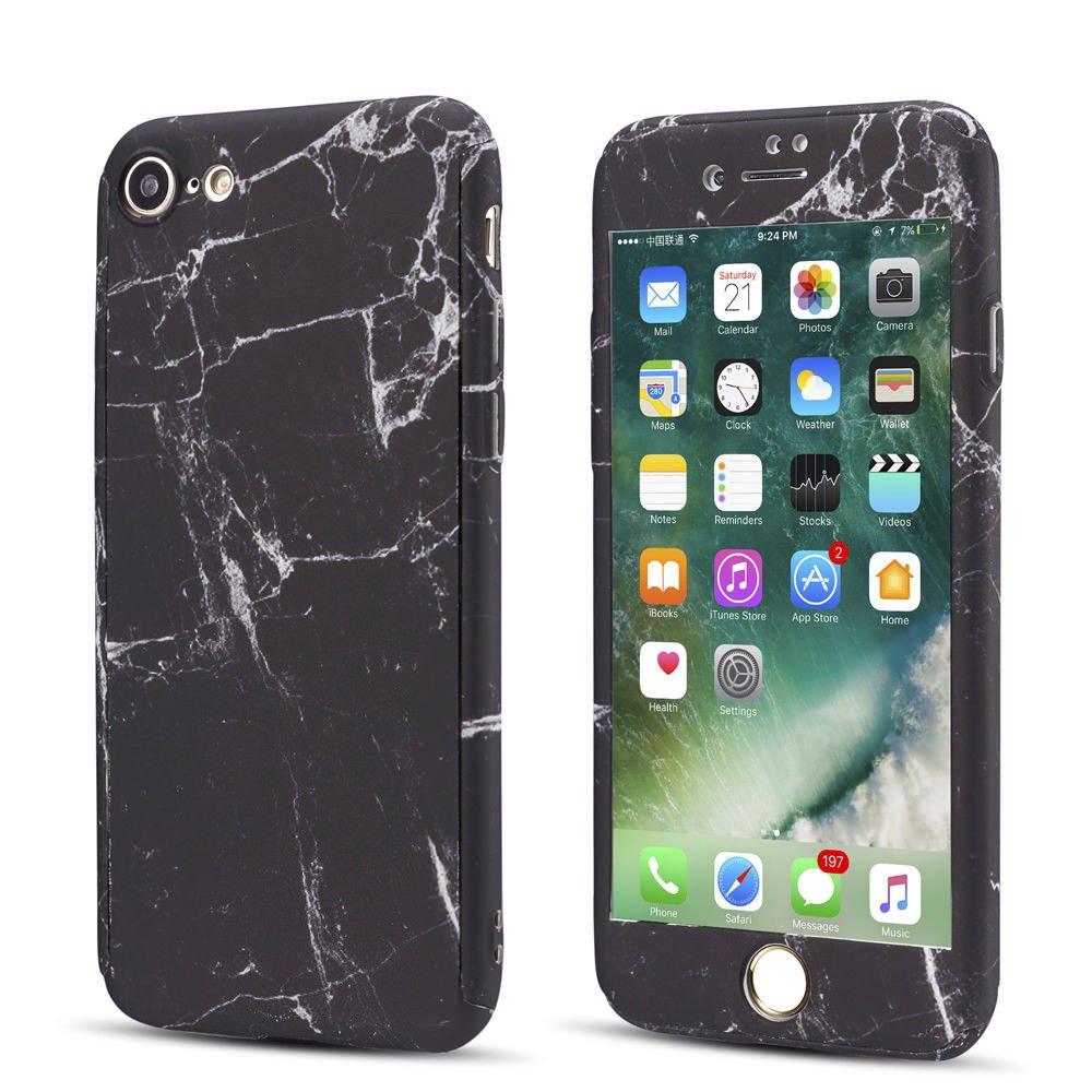 iPhone 8 Plus用EYZUTAKフルボディケース、強化ガラススクリーンプロテクター付きスリムブラックマーブルパターンデザインiPhone 8 Plus用保護耐衝撃ハードリジッドPCカバー   B07FSTHQ18