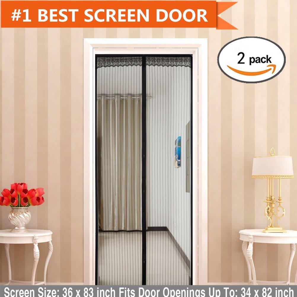 Amazon.com: Magnetic Screen Door(2 Pack) Magic mesh With Full ...