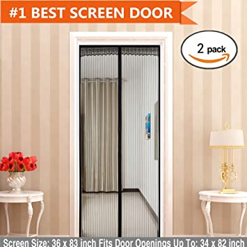 Bon Magnetic Screen Door(2 Pack) Magic Mesh With Full Frame Velcro And Heavy  Duty