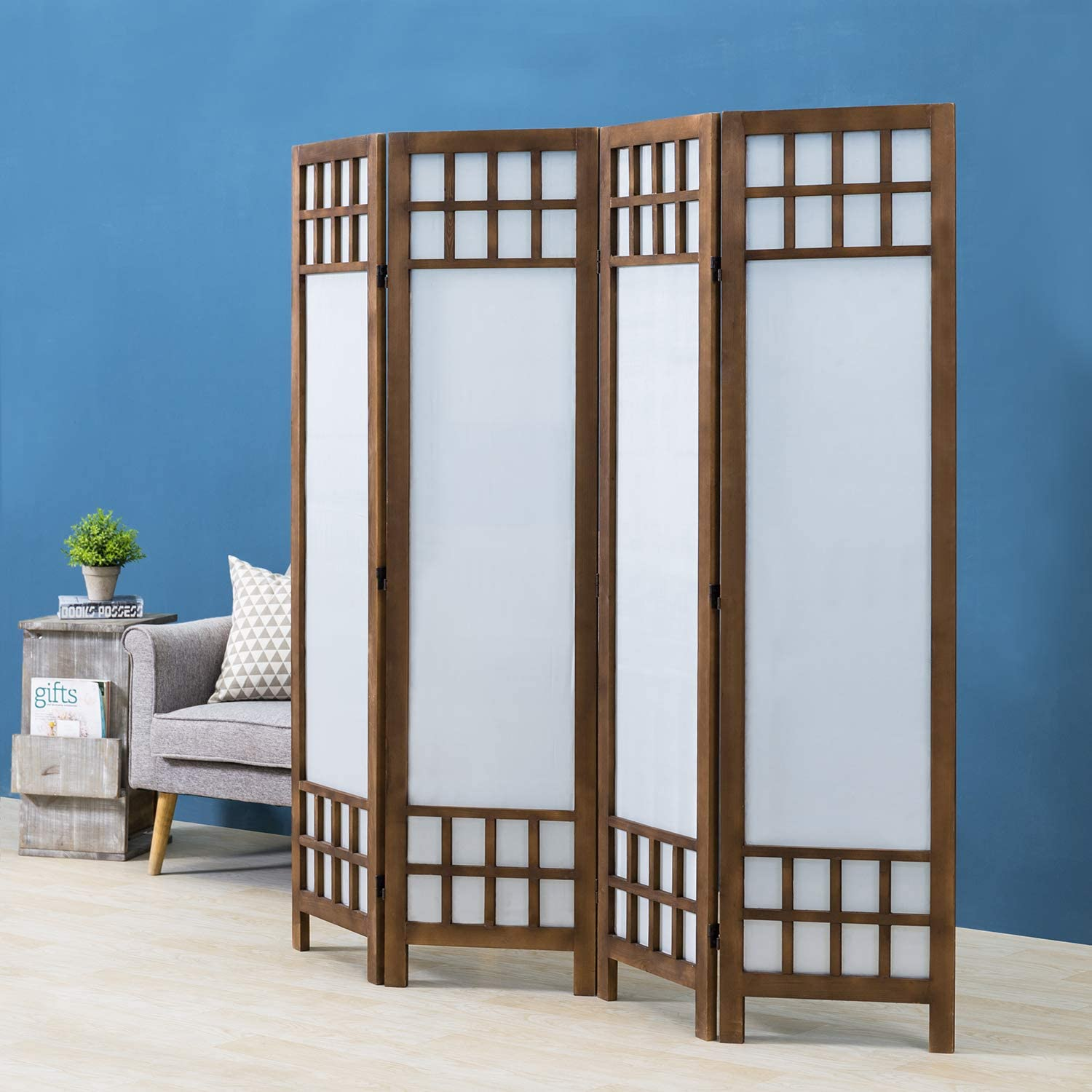 MyGift 4-Panel Asian Screen Door Pane Style Fabric /& Wood 6ft Room Divider