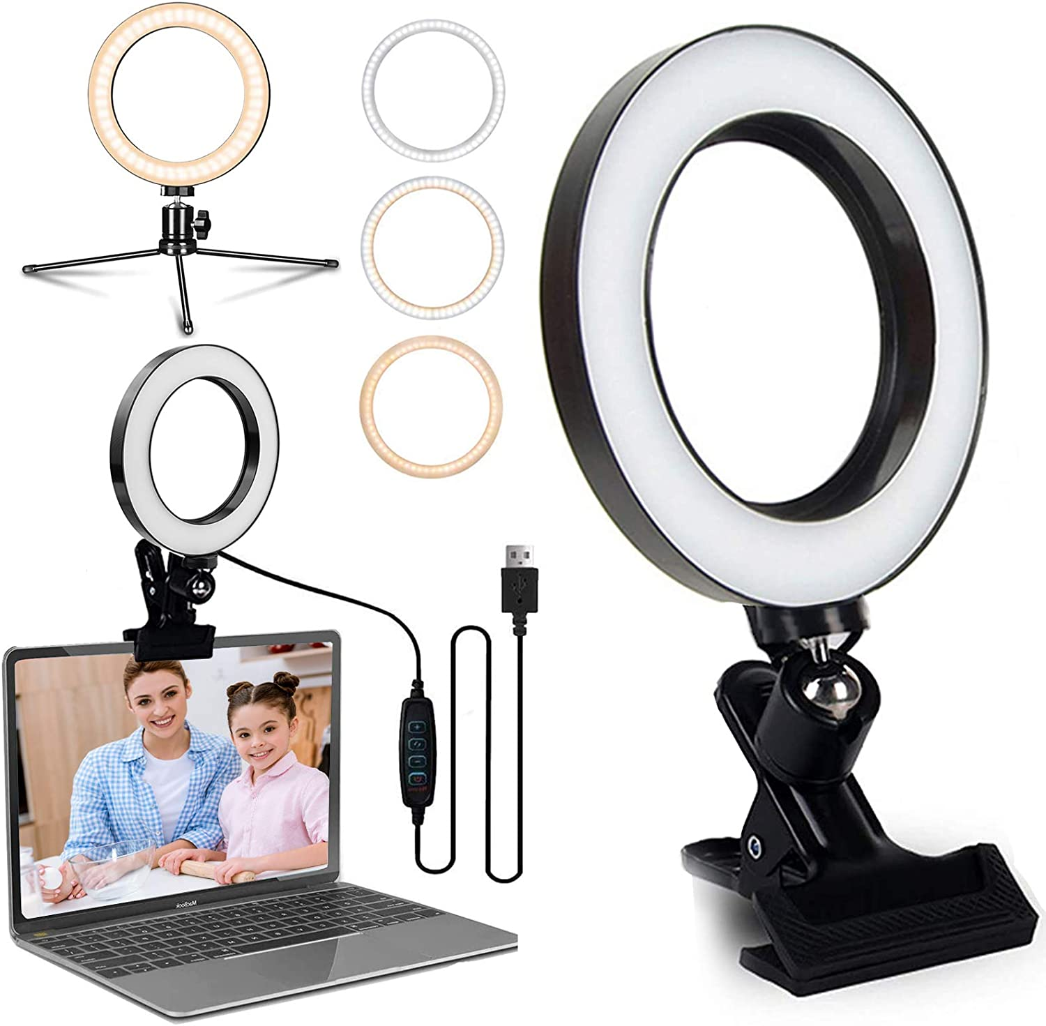 6.2'' LED Ring Light for Computer Laptop Video Conference Lighting with Clip Clamp Mount/Desk/Bed/Office Tripod Stand Selfie Lights for Zoom Meeting, Live Stream/Makeup/YouTube/TIKTok