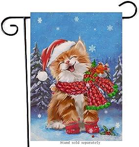 Hzppyz Christmas Cat Home Decorative Garden Flag, Merry Xmas House Yard Snow Bird Kitten Decor Flag Double Sided, Winter Holiday Outside Welcome Decoration Seasonal Outdoor Small Burlap Flag 12 x 18