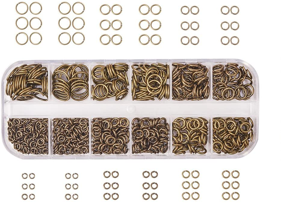 PandaHall Elite About 730 Pcs Brass Open Jump Rings Unsoldered