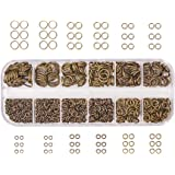 Pandahall Elite Brass Promo Beads 4-10mm Diameter Close but Unsoldered Jump Rings in 1 Box Antique Bronze