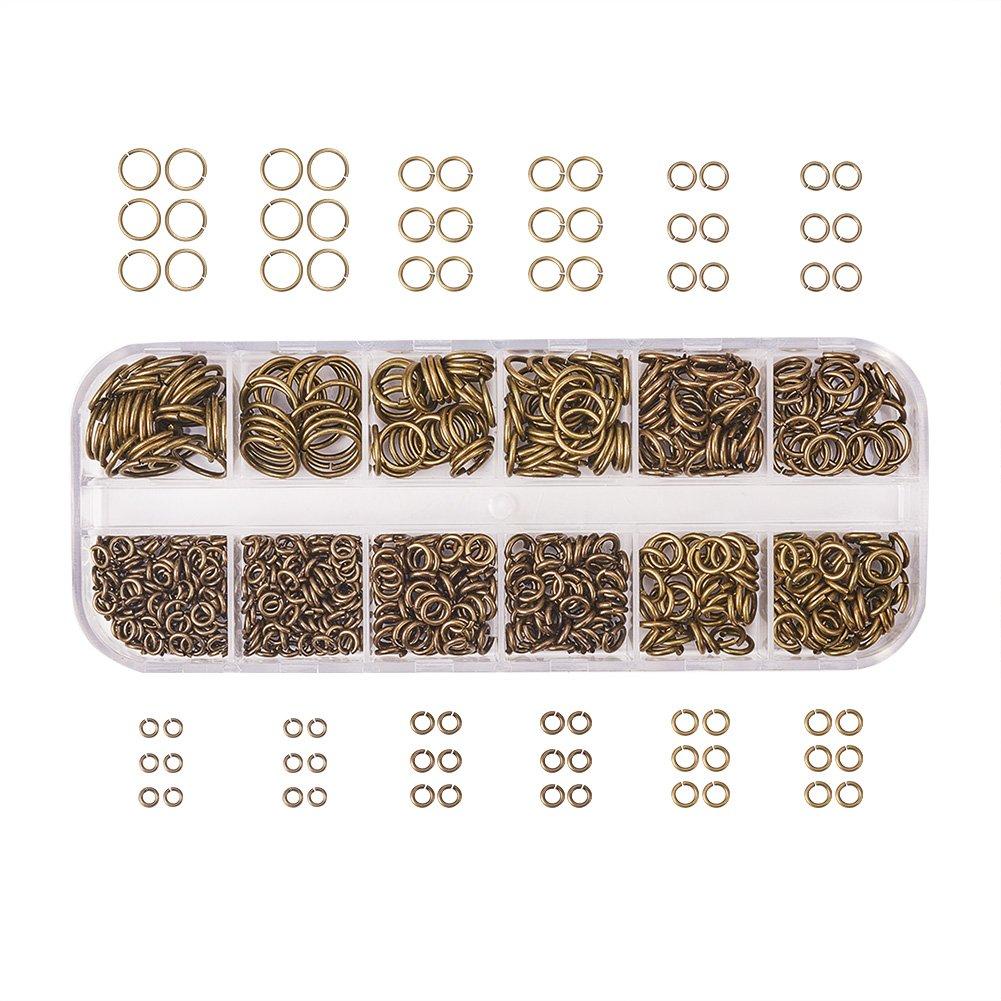 pandahall Elite 1 Boite Laiton Anneaux de jonction Anneau Ouvert Jump Ring 4mm//5mm//6mm//7mm//8mm//10mm Anneaux Mixte Fermer mais Dessoude sans Nickel Antique Bronze