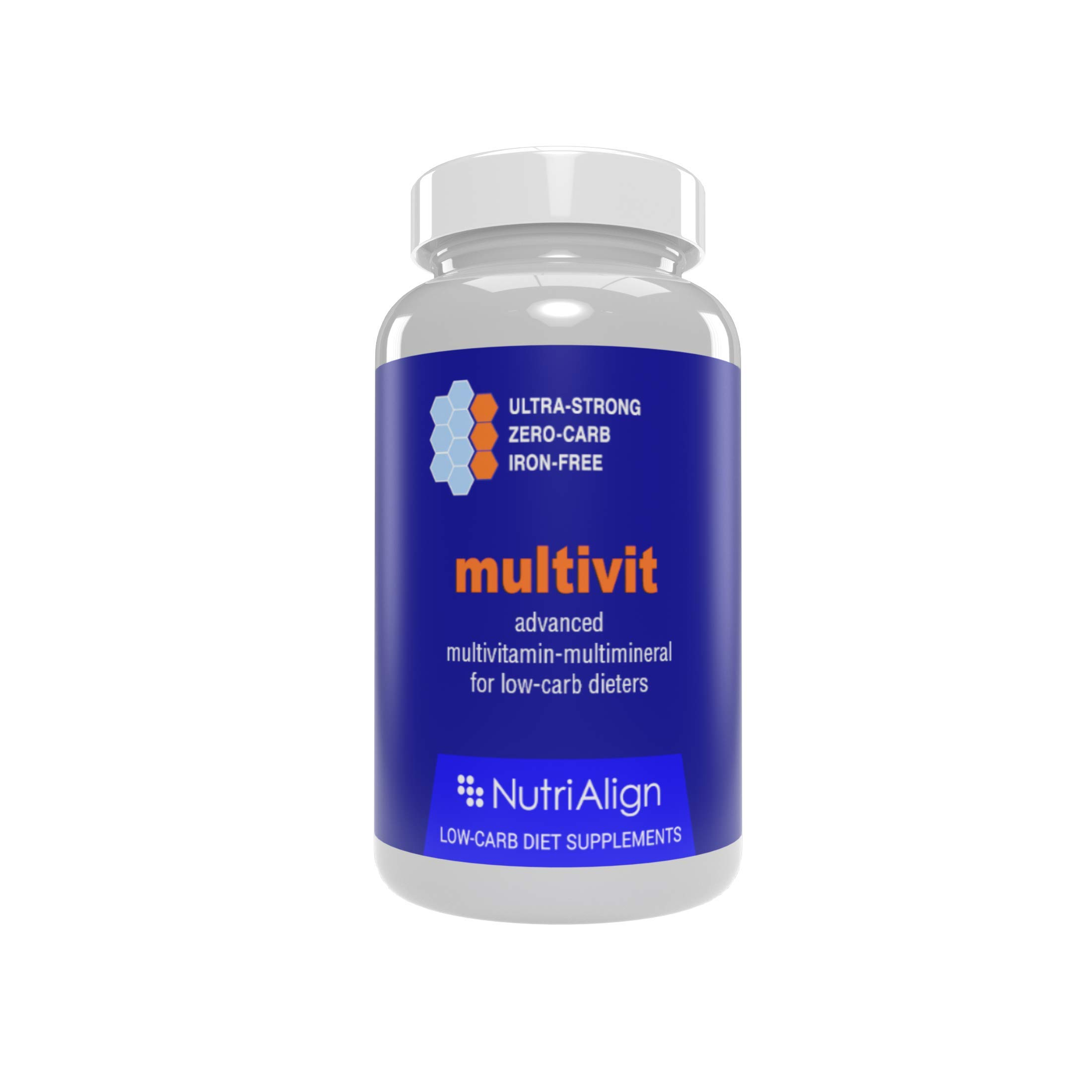 Nutri-Align Multivit: Low-Carb Diet Multivitamins. Optimized for Atkins, Keto, and similar low-carb diets. Extra-strong, iron-free, sugar-free, zero-carb. 90 capsules.
