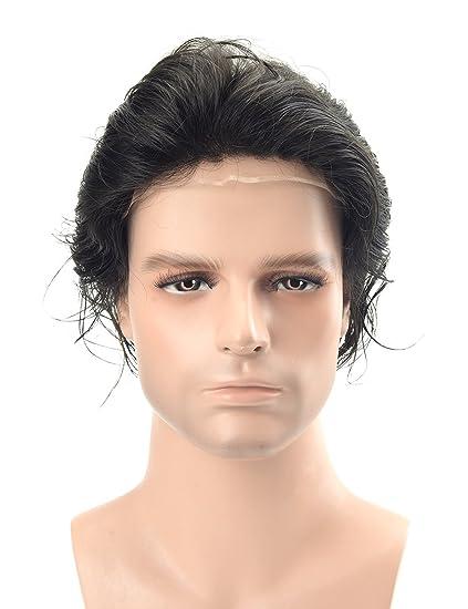 Lordhair - Cabello humano de encaje francés para hombre (color 1 A)