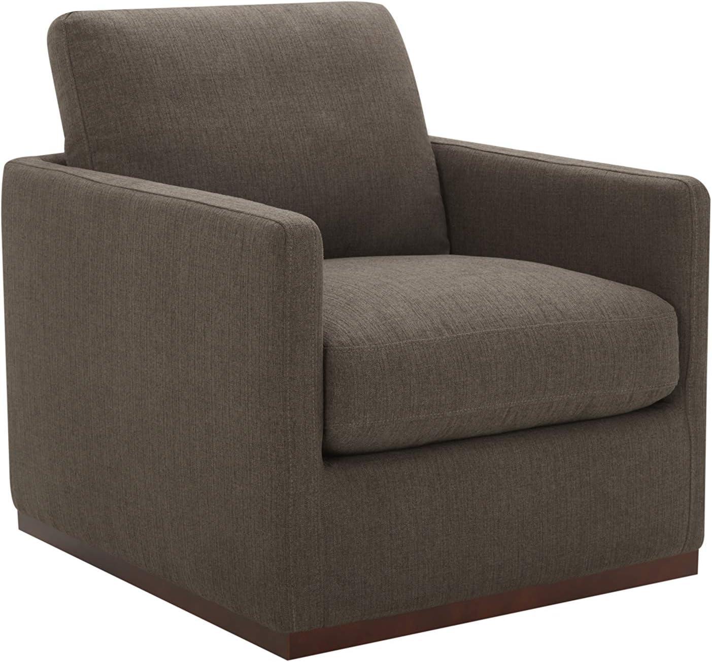 "Amazon Brand – Stone & Beam Gabrieli Wood-Framed Upholstered Swivel Chair, 29.9""W, Charcoal"