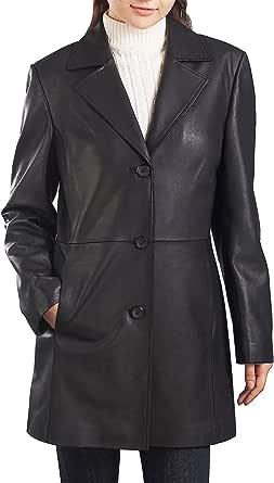 BGSD Women's Danielle Lambskin Leather Walking Coat (Regular & Plus Size & Petite)