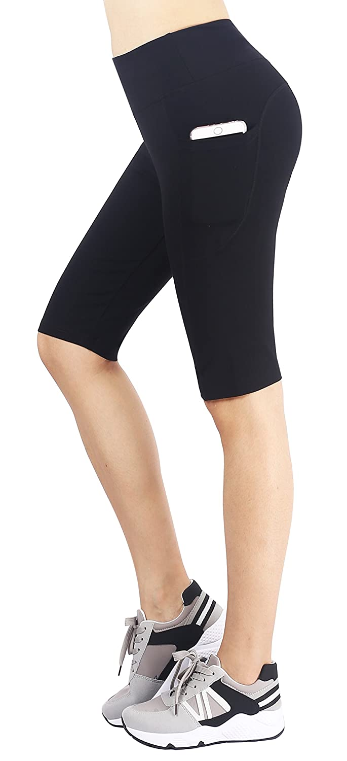 Flatik Womens Active Yoga Short Work Shorts with Side Pocket
