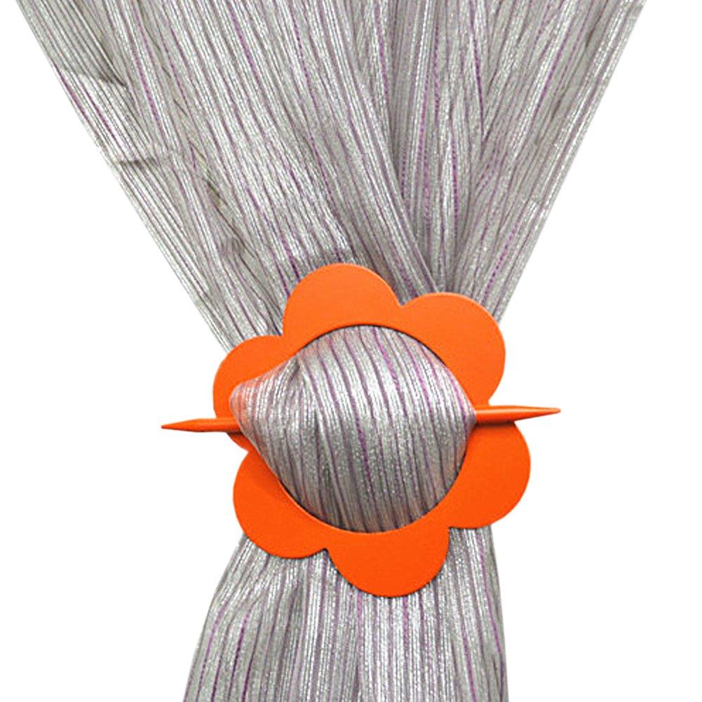 Joyci 1ペアカーテン留め飾り、エレガントなフック花クリップ、Costly Gem Inlayスティックホルダー、ジオメトリカーテンバックルリング、木製プラスチックアルミニウム合金クリエイティブHoldbacks Decor ( H , Wintersweetオレンジ)   B073DXRG5C