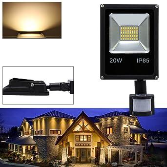 Hengda® 20W Blanco Cálido Foco proyector Exterior LED detección de ...