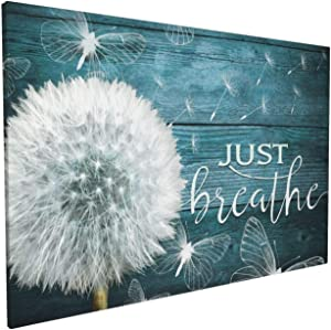 HANKCLES Just Breathe Wall Art Rustic Flower Pictures Canvas Prints Paintings Framed Dandelion Floral Artwork Home Decor for Living Room Bedroom Bathroom Ready to Hang 16x24 inch