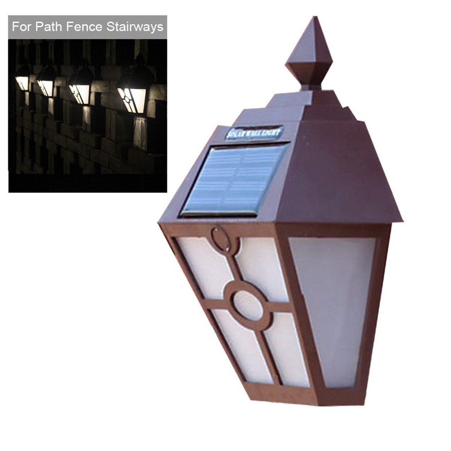 Yaojiaju Retro LED Solar Panel Hexagon Wall Lights Outdoor Garden Fence Stair Lamp Waterproof New Year Christmas Garland (Color : Brown)