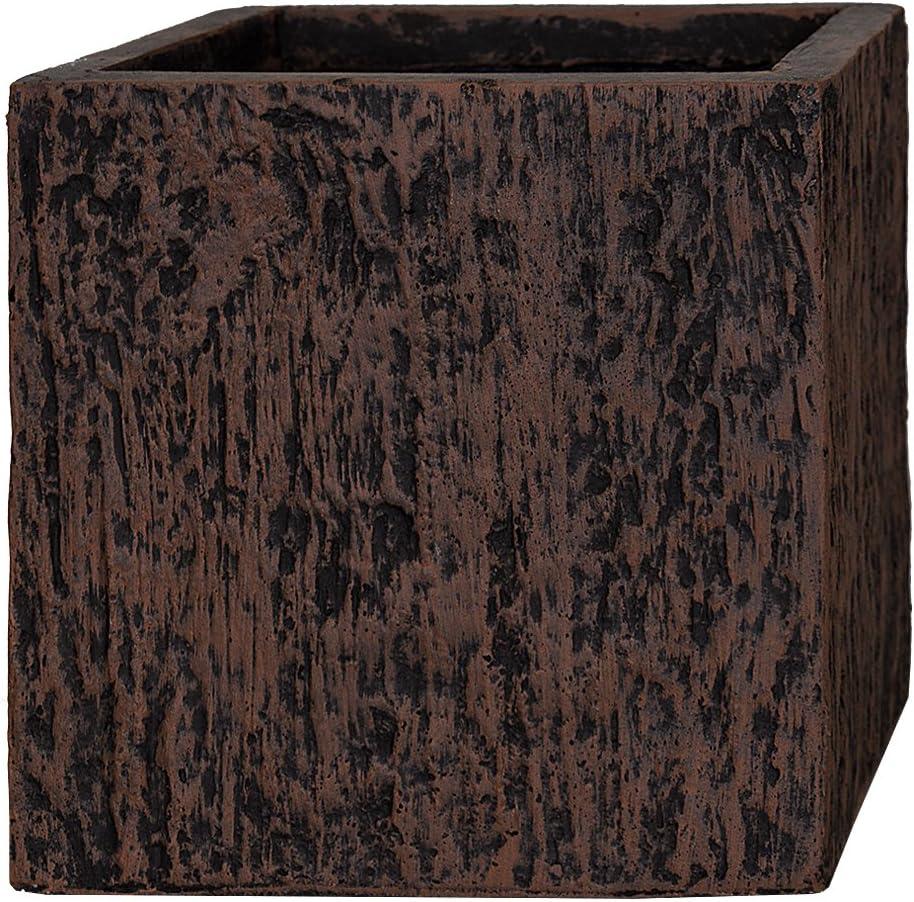 Pflanzwerk/® Pot de Fleur Cube Jardini/ère Wood Brun 23x23x23cm *R/ésistant au Gel* *Protection UV* *Qualit/é europ/éenne*