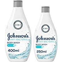 JOHNSON'S, Body Wash, Anti-Bacterial, Sea Salts, 400 ml + 250 ml