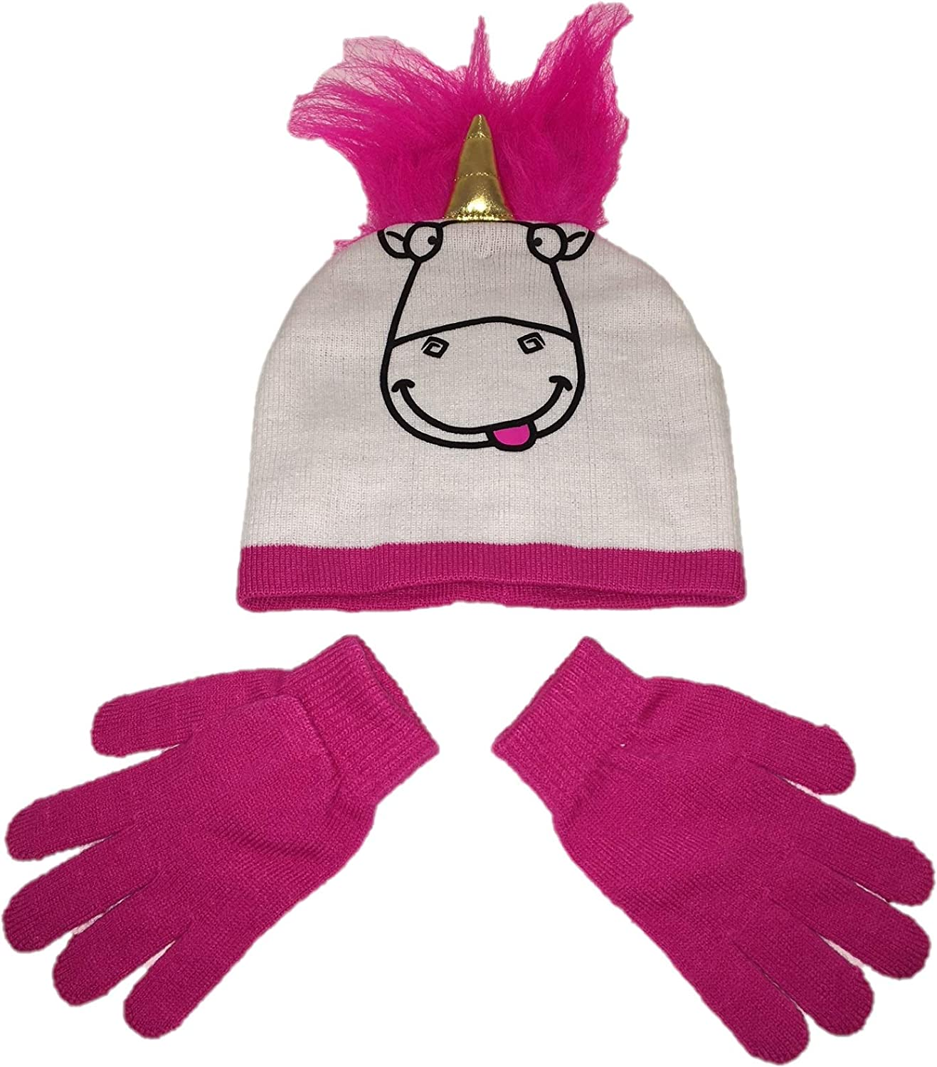 Illumination Unicorn Winter Knit Hat and Mittens for Kids Pink White