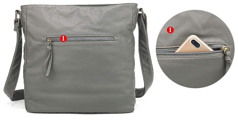 dab86257555c Scarleton Crossbody Shoulder Bag for Women, Ultra Soft Washed Vegan  Leather, H1812