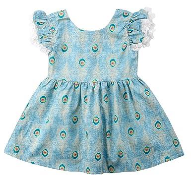 68cbd5a60b15 Amazon.com  Combclub Baby Kids Girls Summer Peacock Ruffle Short ...