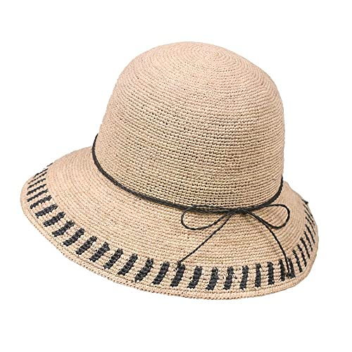cfb511c6eae Amazon.com  GRAS women s summer fishman straw hat bucket hat with ...