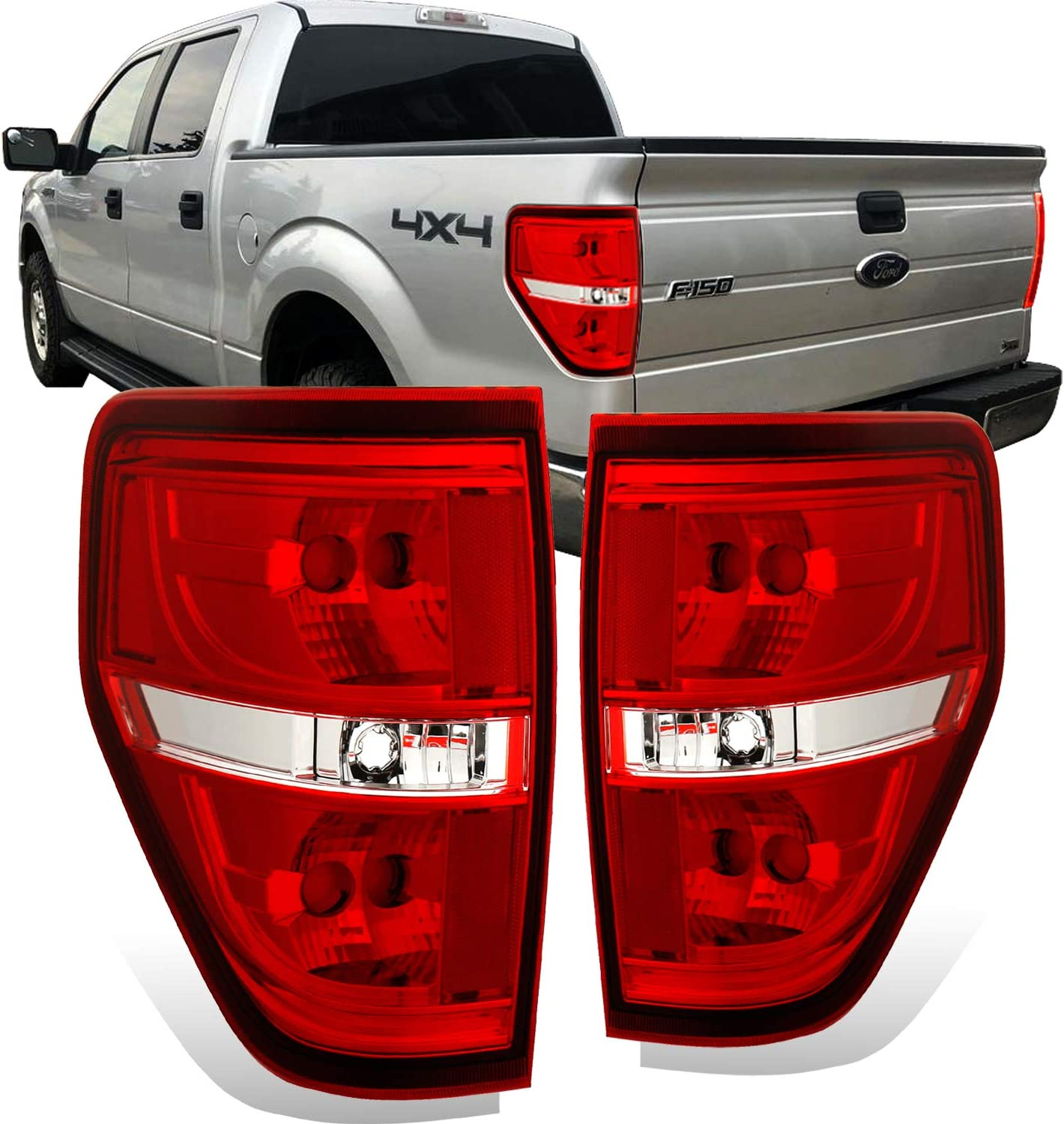 AmeriLite Red/Clear Brake Rear Direct OE Replacement Tail Lights for 2009-2014 Ford F150 F-150 - Passenger and Driver Side