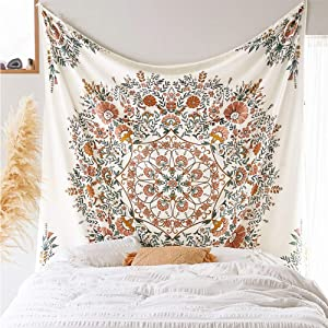 Mandala Flower Tapestry Wall Hanging - Bohemian Hippie White Tapestry Sketched Floral Print Tapestries for Home Bedroom Wall Decor