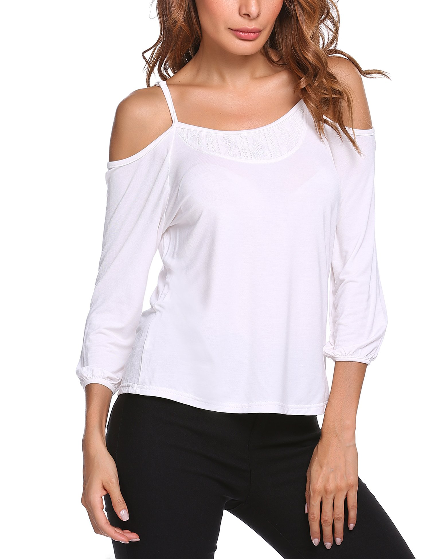 Womens Plus Size Scoop Neck Cold Shoulder 3/4 Sleeve Loose Blouse Tops White