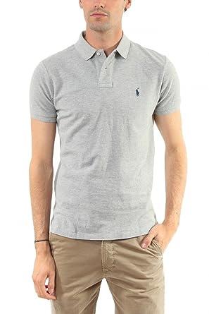 Ralph Lauren Polo Men s Ss Kc Cmfit Polo Ppc Short Sleeve Polo Shirt - Grey  - 79b6e059988