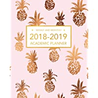 2018-2019 Academic Planner, Weekly And Monthly: Light Pink and Pineapple, Academic Organizer, Weekly Planner 2018-2019, With Calendar For School, 8 x 10