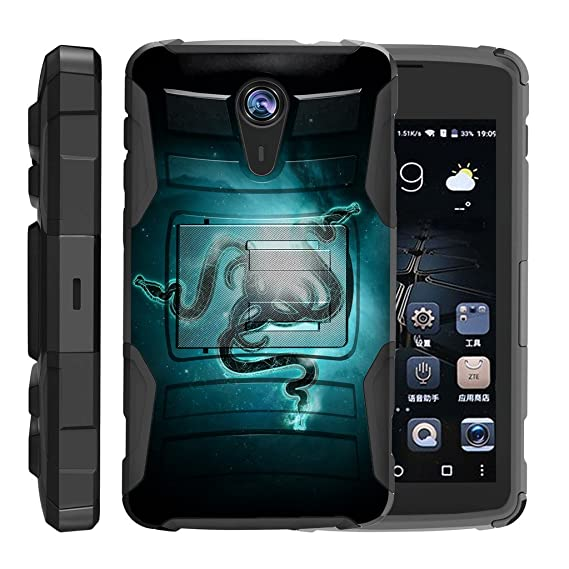 TurtleArmor   ZTE Uhura Case   ZTE Ultra Case   ZTE Quest Case   N817  [Hyper Shock] Hybrid Dual Layer Armor Holster Belt Clip Case Kickstand -  Blue