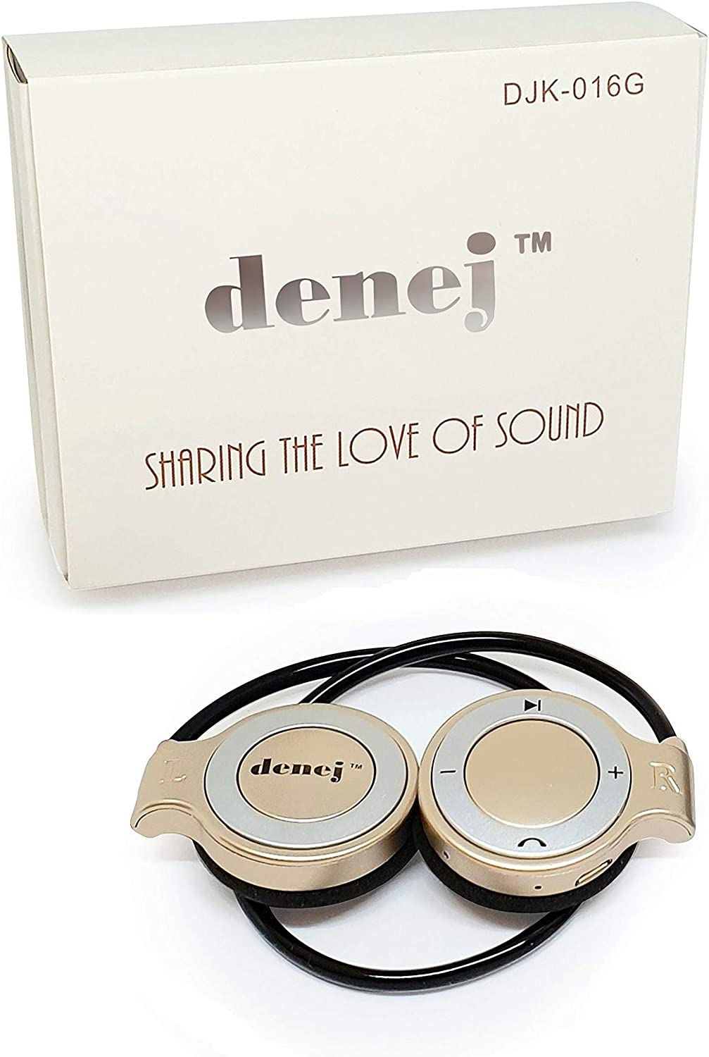 Denej Gold Mini On Ear Bluetooth Wireless Headphones Gift Set - 20 Hr On-Ear Cordless Headset Set for Gym,Running,Workout, Leisure with Built-in Microphone and Crisp HD Audio. with Bonus Pouch.