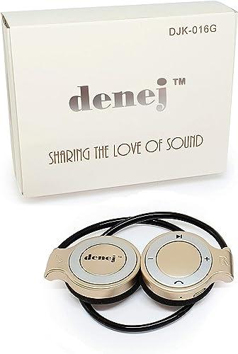 Denej Gold Mini On Ear Bluetooth Wireless Headphones Gift Set