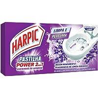 Harpic Limpador e Aromatizador Sanitário Pastilha Adesiva Power 2 em 1 Lavanda 3 unidades - 9g cada