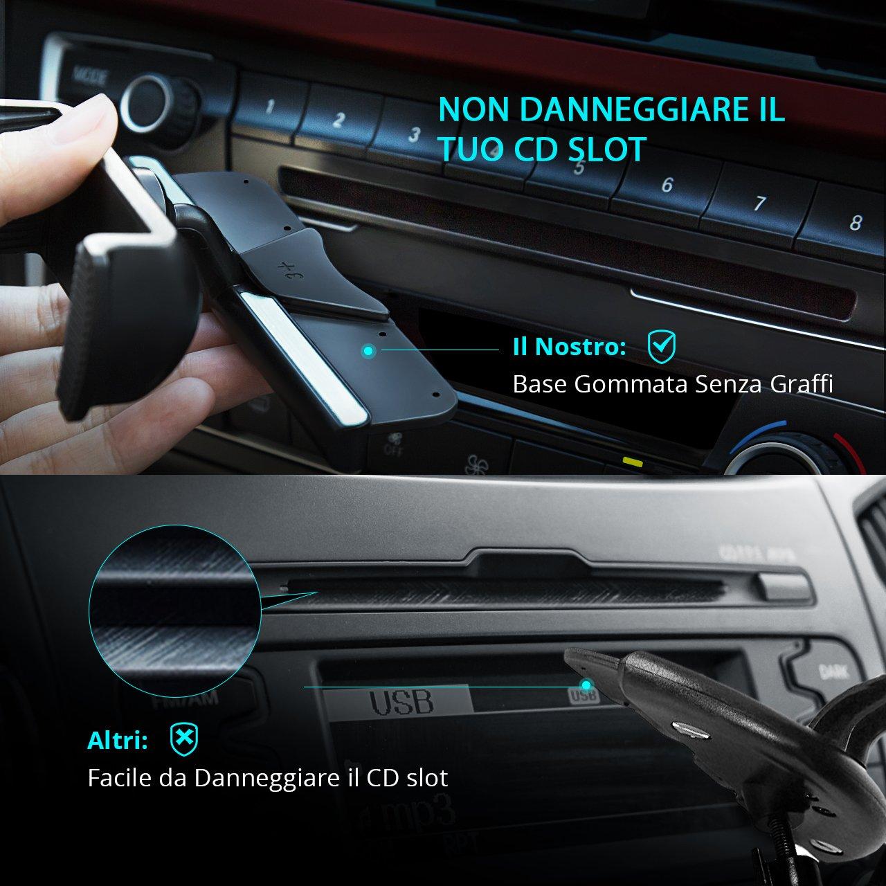 Samsung Motorola Sony e GPS Dispositivi. da Auto per CD Slot con la Primavera del Titolare iPod Touch 360 /° di Rotazione per iPhone Mpow Porta Cellulare Universale HTC Garanzia a Vita Nexus