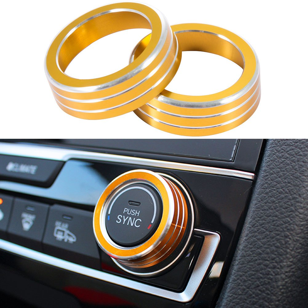 JKCOVER 2pcs Anodized Aluminum AC Climate Control Ring Knob Covers For 2016 2017 10th Gen Honda Civic - Gold