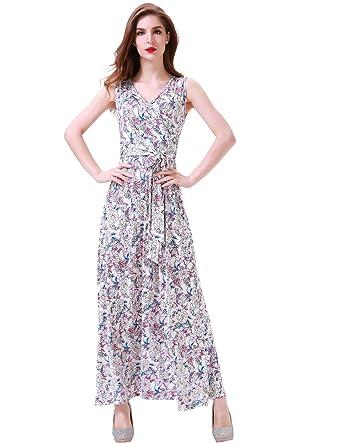 48a4c683aa Aphratti Women s Bohemian Sleeveless V Neck Faux Wrap Long Maxi Dress Small Apricot  Floral