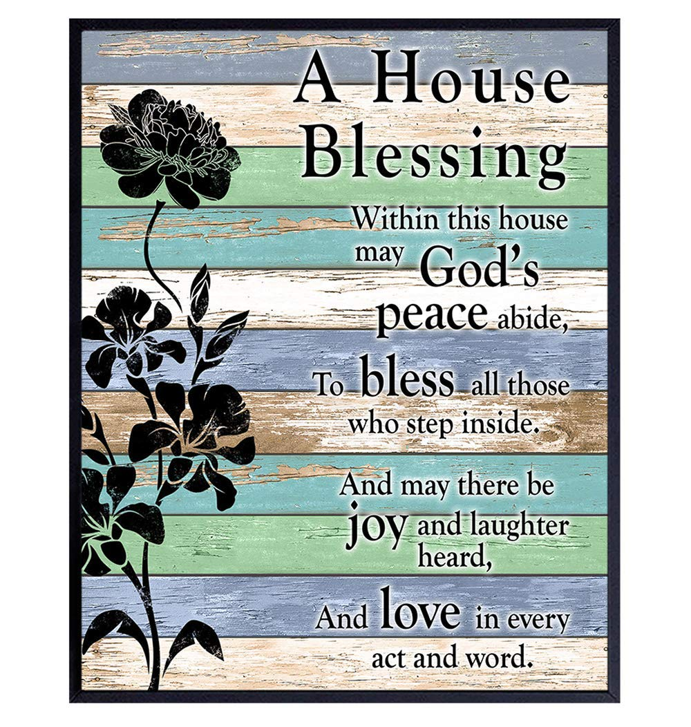 House Blessing - Religious Home Decor - Christian Family Saying Poem Quote - Blessed Wall Art - Inspirational Bible Verse Faux Wood Sign Wall Hanging Picture Print - Gift for Pastor, Minister