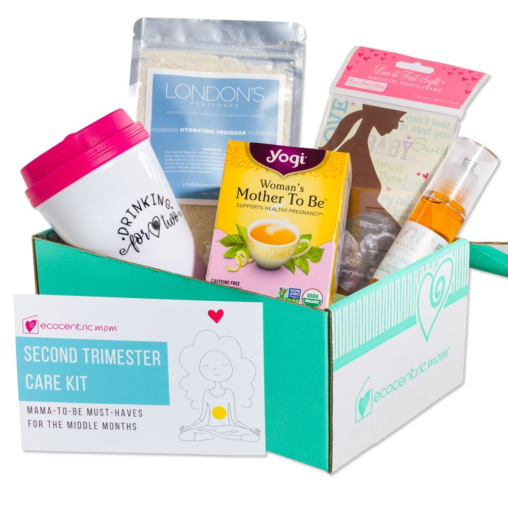 Ecocentric Mom Pregnancy Gift Box - Second Trimester Maternity Gifts with Non-Toxic, Organic, Natural & Unique Products - Sonogram Frame, Belly/Baby Oil, Foot Soak, Pregnancy Tea & Mug.
