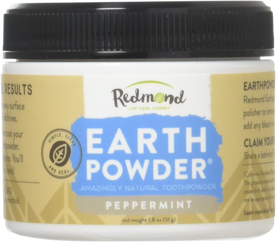 Redmond Earthpowder, All Natural Tooth and Gum Powder Bentonite Clay, Peppermint