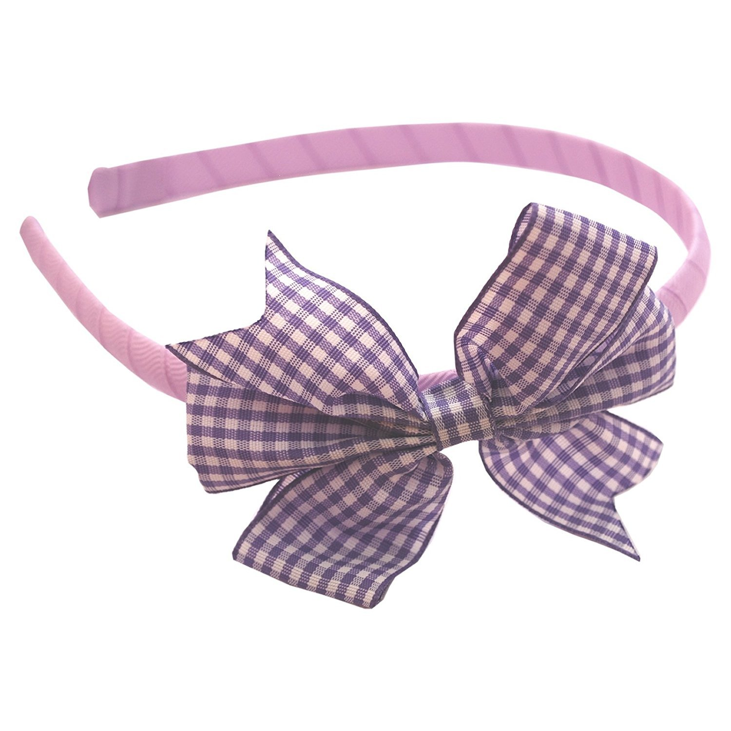 Hair Band Alice Head Band with Gingham Flat Bow School Uniform Accessories