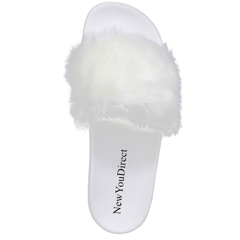 6bc69c8b299 NewYouDirect Fur Slides for Women,Fuzzy Sandals Flip Flop Furry Slides Soft  Flat for Indoor Outdoor
