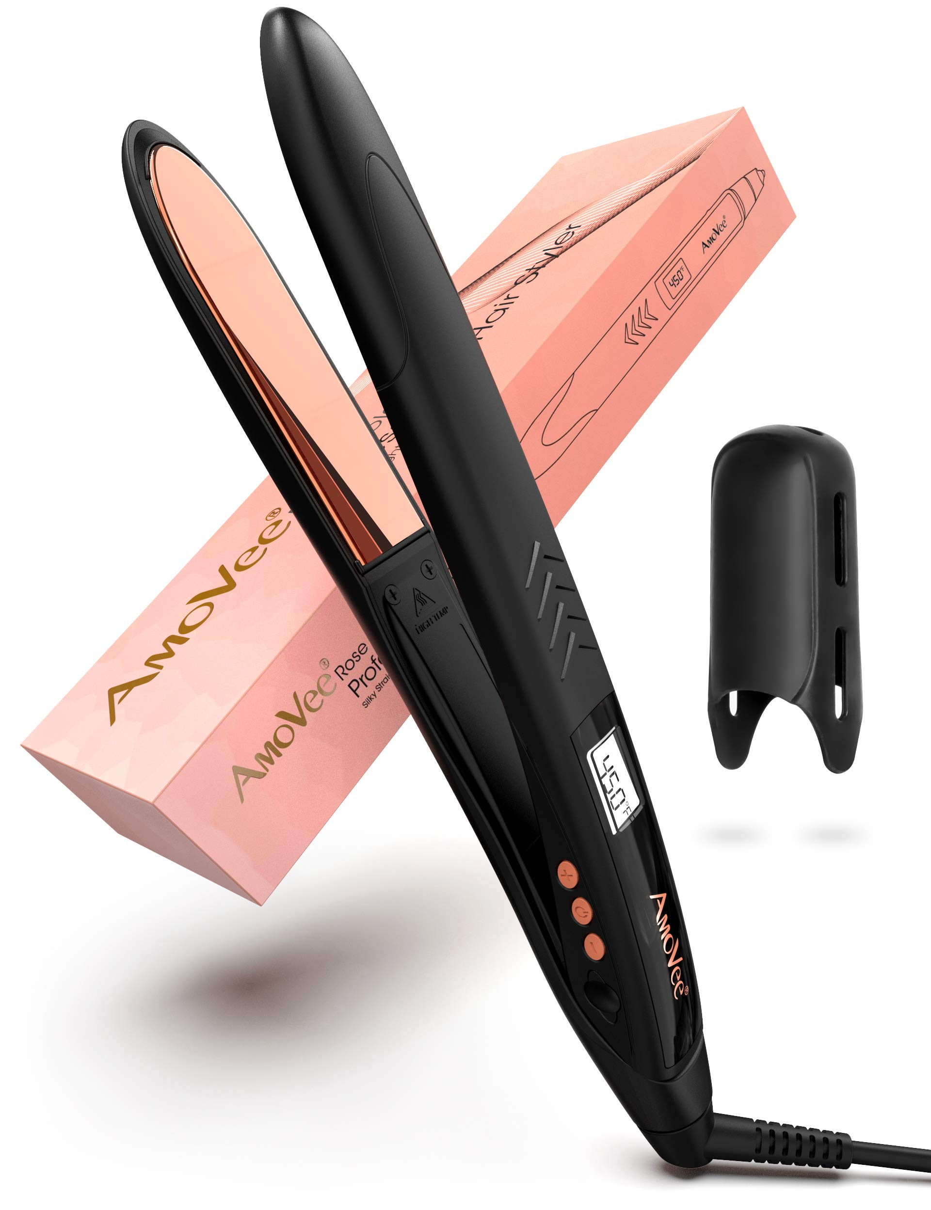 AmoVee Hair Straightener Nano Titanium Flat Iron Professional 2 in 1 Flat Iron and Curling Iron for All Hair Types, 1 Inch, Black/Rose Gold by AmoVee
