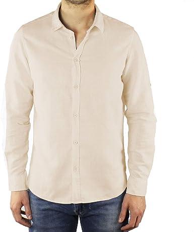 Ciabalù - Camisa de Hombre de Lino Slim Fit, Color Beige, de ...