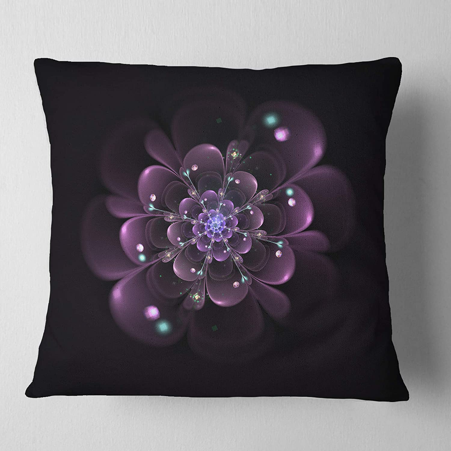 in Sofa Throw Pillow 18 in Designart CU12182-18-18 Glowing Light Purple Fractal Flower on Black Floral Cushion Cover for Living Room x 18 in Insert Printed On Both Side